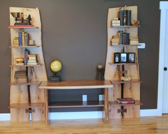 Rustic Live Edge Oak Slab Bookcase / Built in Desk