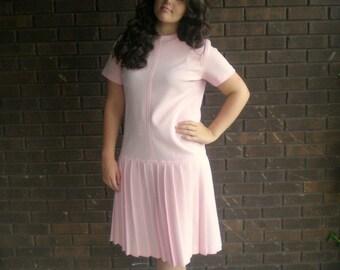 Spun sugar .... vintage 60s pink dress / 1960s mod drop waist / pleat pleated skirt / mad men scooter ... M L