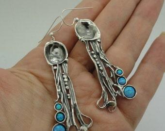 Hadar NEW Long Sterling  Silver Opal Earrings (H 242)