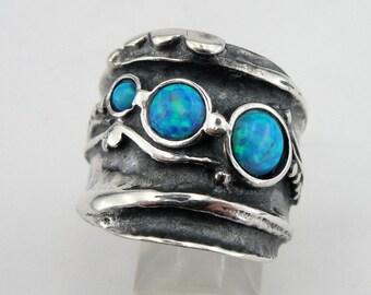 Hadar  Jewelry Handcraffted Sterling Silver Opal Ring 8.5 (H 145) Y