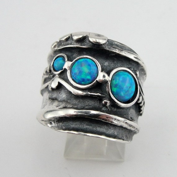 Hadar  Jewelry Handcraffted Sterling Silver Opal Ring 8.5 (H 145) Y