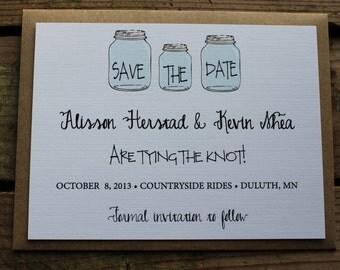 Sample Only Mason Jar Rustic Wedding Save the Date Invitation