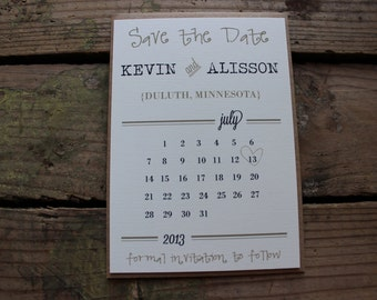 Sample Only Small Rustic Calendar Save the Date Cards with Envelopes / Magnets optional