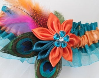 Teal & Orange Wedding Garter, Peacock Garter, Circus Wedding, Tropical Wedding, Bridal Garter, Beach Bride, Hawaiian Wedding