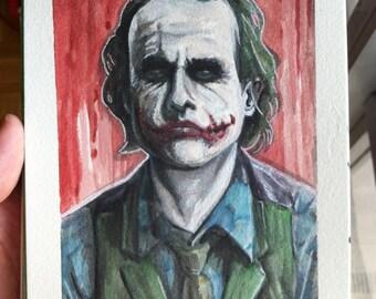 Joker in Cell Watercolor  (ORIGINAL) 5X7