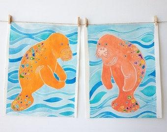 Manatee Art - Beach Nursery Art - Pink and Tangerine - Beach Art