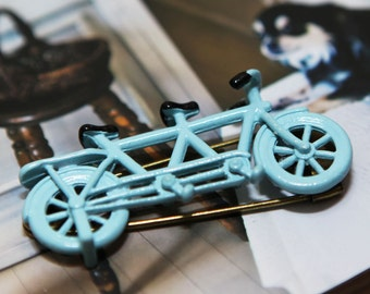Blue Bicycle Brooch (Size: 5.5 cm x 3 cm)