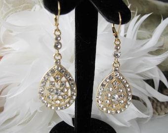 Rhinestone Gold Tone  Bridal Wedding Earring Drops