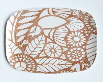 "Indian Lace Wood Grain 14"" Platter, White"