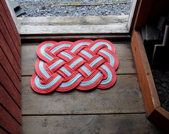 "Doormat 26 x 20"" Light Blue With Double Red Accents Rope Rug  INDOORS OR OUTDOORS"