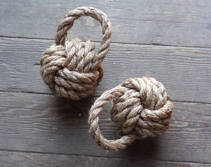 Rope Book End Door Stop Monkey Fist Nautical Nursery or Theme Knotted Natural
