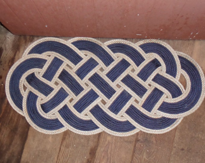 "34"" x 15"" Navy Blue with Silver Border Rope Rug Knotted Great Doormat Mat"