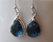 Blue Sapphire Drop Earrings / Glass Dangle / Teardrop Earrings / Navy Blue / Montana Blue / Bridesmaids / Wedding / 14K Gold Filled Wire