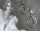 Vintage Silver and Rhinestone Dangle Pierced Earrings - V-EAR-494 - Silver Dangling Earrings