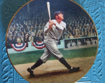 """Vintage """"Babe Ruth: The Called Shot"""" 22K Gold Trimmed collector's plate from Delphi, 1992"""
