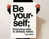 Be yoursel poster, 50 x 70 poster,Offset poster,modern print, Oscar wilde quote, be yourself quote,modern quote poster, wall art, minimalist