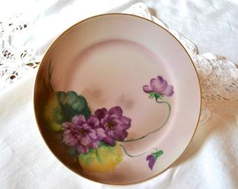 Noritake Purple Violets China Plate, Hand Painted Saucer, circa 1930's