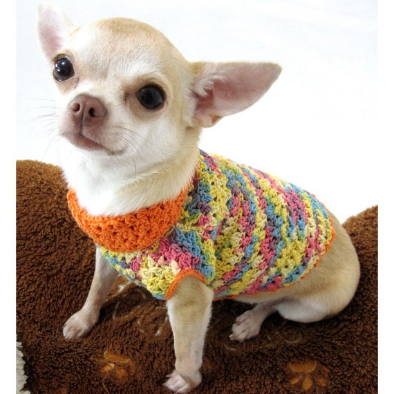 Knitting Pattern For Teacup Dog : Orange Colorful Dog Clothing Cotton Chihuahua Clothes Pet