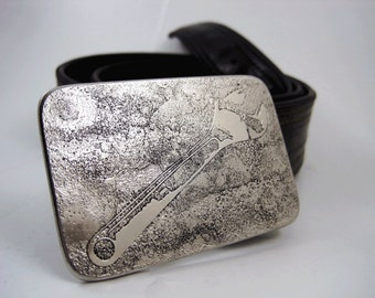 Crescent Wrench Belt Buckle - Etched Stainless Steel - Handmade