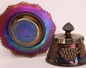 Northwood Grape and Cable Amethyst  Covered Butterdish