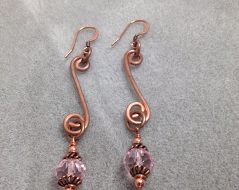 Hand formed & hammered copper earrings with pink crystals
