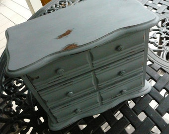 Jewelry Box/Wedding Decor/ Annie Sloan Paris Grey/ Shabby Chic/ Cottage Chic