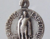 Saint EXPEDITUS Vintage Religious Medal Pendant Signed Karo on 18 inch sterling silver rolo chain