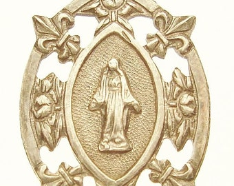 "Our Lady of Lourdes Vintage Silver Religious Medal Pendant on 18"" sterling silver rolo chain"