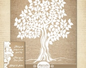 "Guest Book Tree,  Burlap Wedding Tree Poster, 16"" x 20"" - Up to 150 Signatures, Guest Book Alternative"
