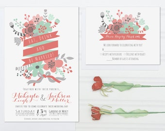 Unique Wedding Invitations, Eat, Drink and Be Married, Mint Green and Coral Pink Invite Suite with RSVP Cards, Modern Flowers, Set of 100