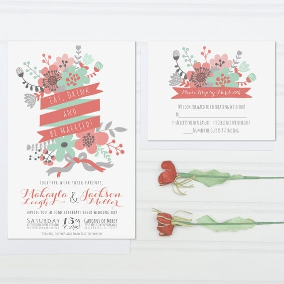Unique Wedding Invitations Eat Drink And Be Married Mint