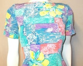 Vtg 90s Liz Claiborne petites Silk dress 6p 6 small Multi print sprint