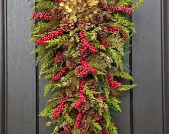 "Christmas Wreath Winter Wreath Holiday Vertical Teardrop Swag Door Decor..""Seasons Greetings"" Green w/ Green"