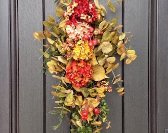 READY TO SHIP Fall Wreath-Teardrop Wreath- Vertical Door Decor-Use Year Round Swag Decor Hydrangea Swag Artificial Floral Swag