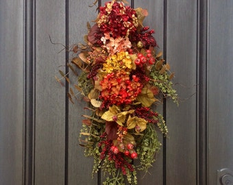 Fall Wreath-Thanksgiving Wreath-Teardrop Wreath- Vertical Door Decor-Autumn Fall Swag Decor-Artificial Floral Swag-Swag-Indoor/Outdoor Swag