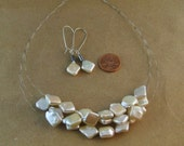 Glam Pair: Upcycled bicycle parts and freshwater pearl necklace and earring set