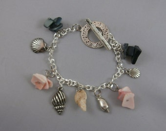 Sea Shell and Silver Shell Charm Bracelet