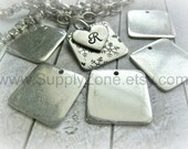"""PEWTER 16g - 15/16""""  SQUARE Blank with Hole - Pewter Squares - You Get Two (2) Blanks  - Metal Stamping Blank - DIY Jewelry Making Supplies"""