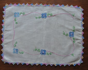 Vintage Dresser Scarf with Hand Embroidery and Crochet Trim