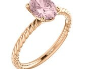 Natural  Morganite  Solid 14K Rose Gold Twist Shank Solitaire Engagement Ring ST82737***Special ***