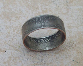 Made To Order CoPPeR NiCKLe HaNDMaDe Jewelry MARYLAND STaTe QuaRTeR RiNG CHRiSTMaS GiFT or SToCKiNG STuFFeR You Pick the Perfect Size 5-10