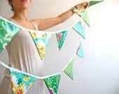oilcloth bunting pure green, 15 triangle flags. Garland for party, wedding, decoration, classroom