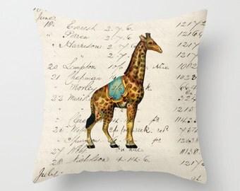 Throw Pillow Cover - Circus Giraffe - 16x16, 18x18, 20x20 - Pillow case Original Design Home Décor by Adidit