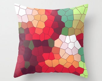 Throw Pillow Cover Mosaic - Multicolor - 16x16, 18x18, 20x20 - Bedroom Living Room Original Design Nursery Baby Art Home Décor by Adidit