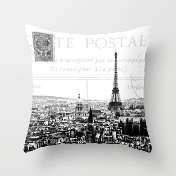 throw pillow cover paris carte postale vintage postcard. Black Bedroom Furniture Sets. Home Design Ideas