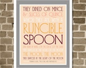 Peach and Gray Runcible Spoon Quote Typography Print - Pink and Orange Kitchen Art - Modern Edward Lear Owl and the Pussycat Poem Quote