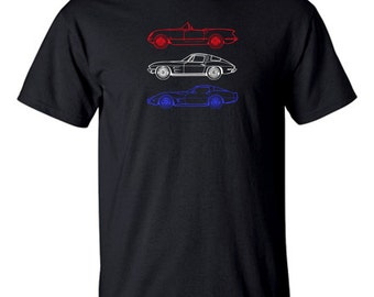 CORVETTE Tee Shirt in Black  M,L,XL Red White & Blue . Fifties,Sixties,Seventies Corvettes