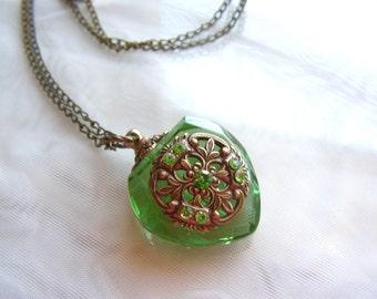 Vintage Inspired Light Emerald Green Crystal Heart Perfume Bottle Necklace