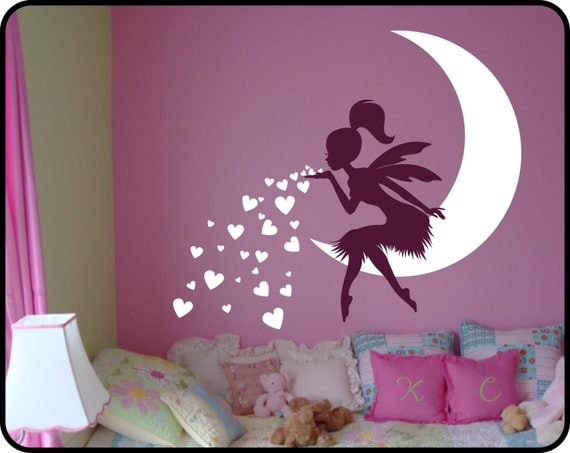 Fairy Wall Decal Blowing Kisses With Hearts Vinyl Fairy Wall