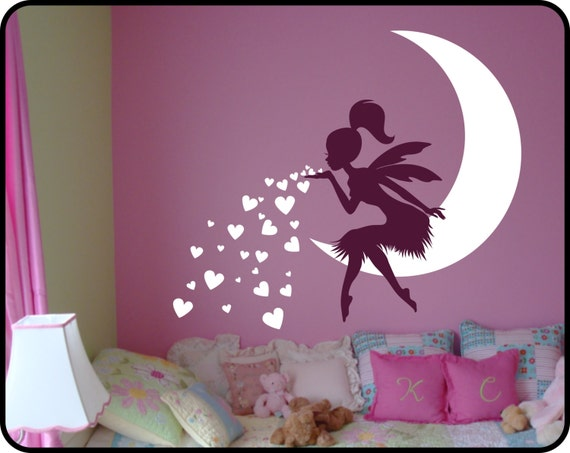 Fairy wall decal blowing kisses with hearts vinyl fairy wall for Deko sticker kinderzimmer